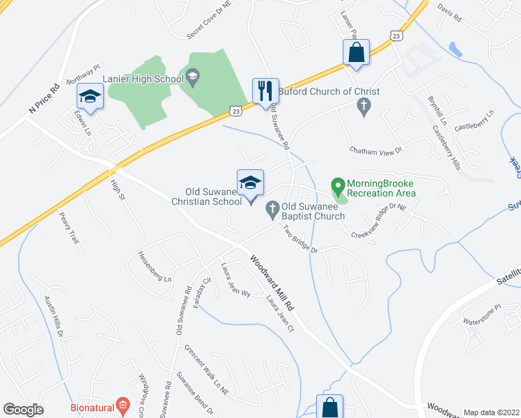 map of restaurants, bars, coffee shops, grocery stores, and more near 4352 Suwanee Mill Drive in Buford