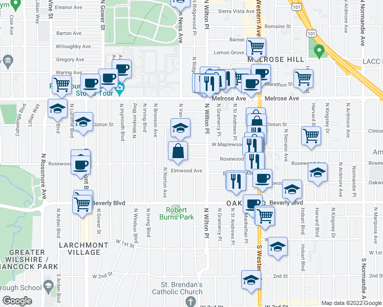 map of restaurants, bars, coffee shops, grocery stores, and more near 5037 Rosewood Avenue in Los Angeles