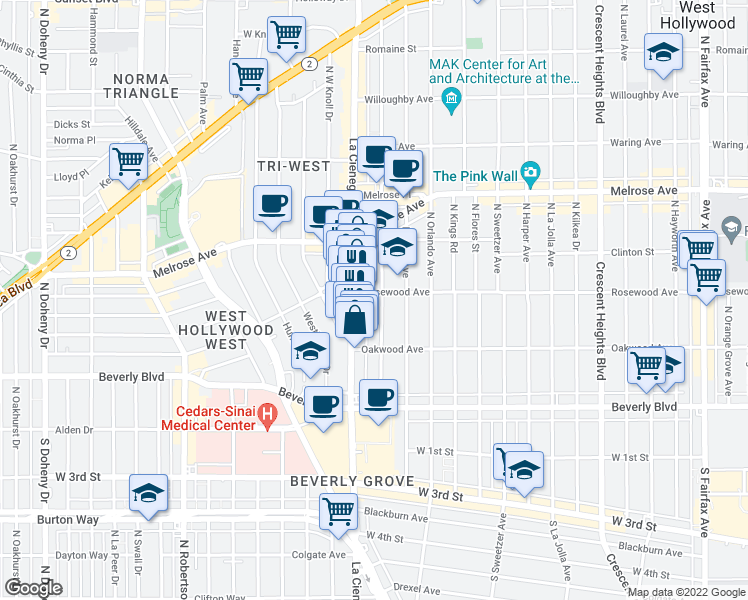map of restaurants, bars, coffee shops, grocery stores, and more near 465 North Alfred Street in Los Angeles