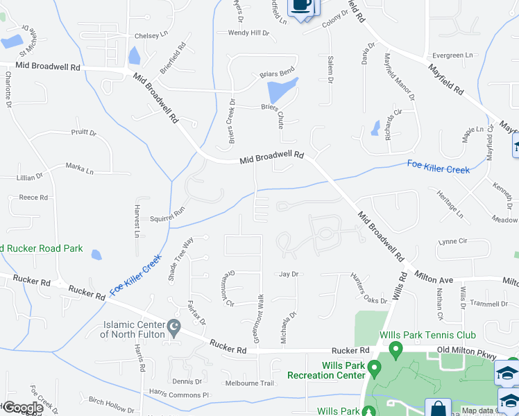 map of restaurants, bars, coffee shops, grocery stores, and more near 1465 Mid Broadwell Road in Alpharetta