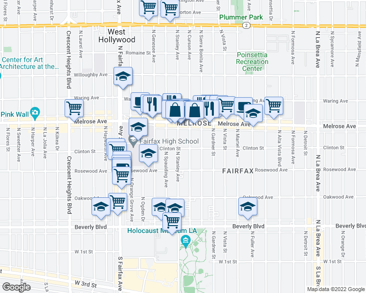 map of restaurants, bars, coffee shops, grocery stores, and more near 7615 Clinton Street in Los Angeles
