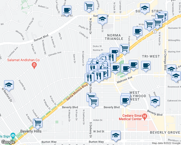 map of restaurants, bars, coffee shops, grocery stores, and more near N Doheny Dr in Beverly Hills