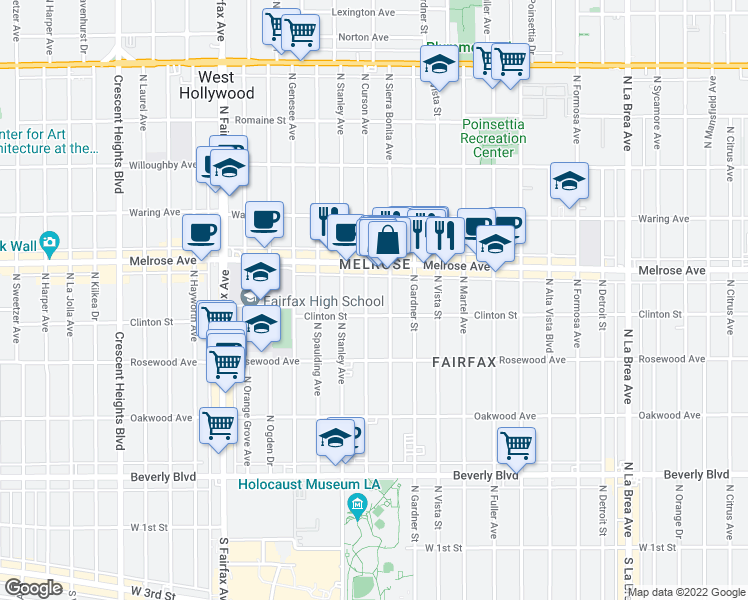 map of restaurants, bars, coffee shops, grocery stores, and more near 616 N Curson Ave in Los Angeles