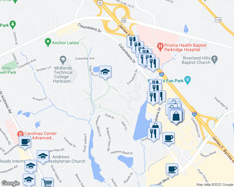 map of restaurants, bars, coffee shops, grocery stores, and more near 245-299 Crossbow Dr in Columbia
