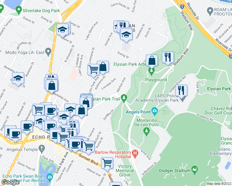 map of restaurants, bars, coffee shops, grocery stores, and more near 1474 Morton Pl in Los Angeles