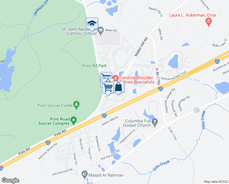 map of restaurants, bars, coffee shops, grocery stores, and more near 811 Mallet Hill Rd in Columbia