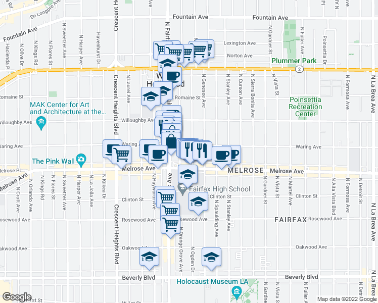 map of restaurants, bars, coffee shops, grocery stores, and more near 729-731 N Orange Grove Ave in Los Angeles