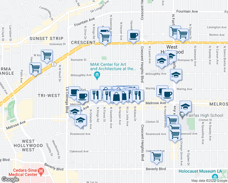 map of restaurants, bars, coffee shops, grocery stores, and more near 748 North Sweetzer Avenue in Los Angeles