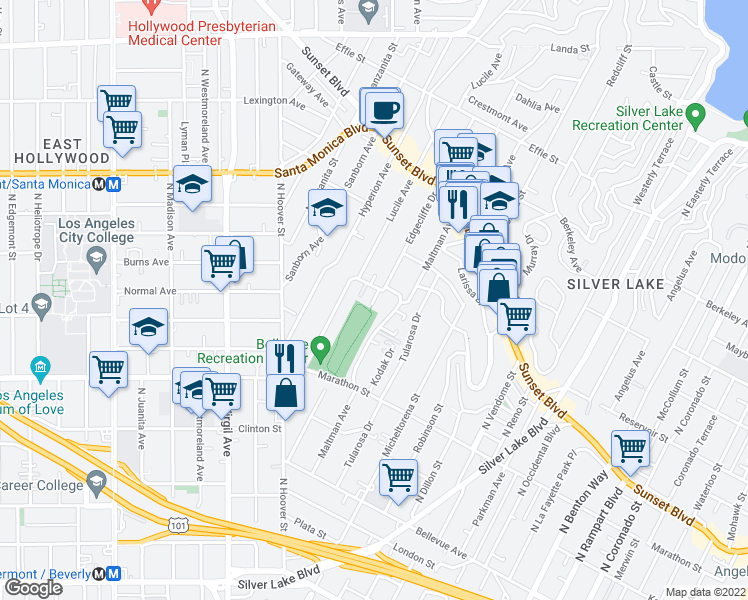 map of restaurants, bars, coffee shops, grocery stores, and more near 950 Edgecliffe Dr in Los Angeles