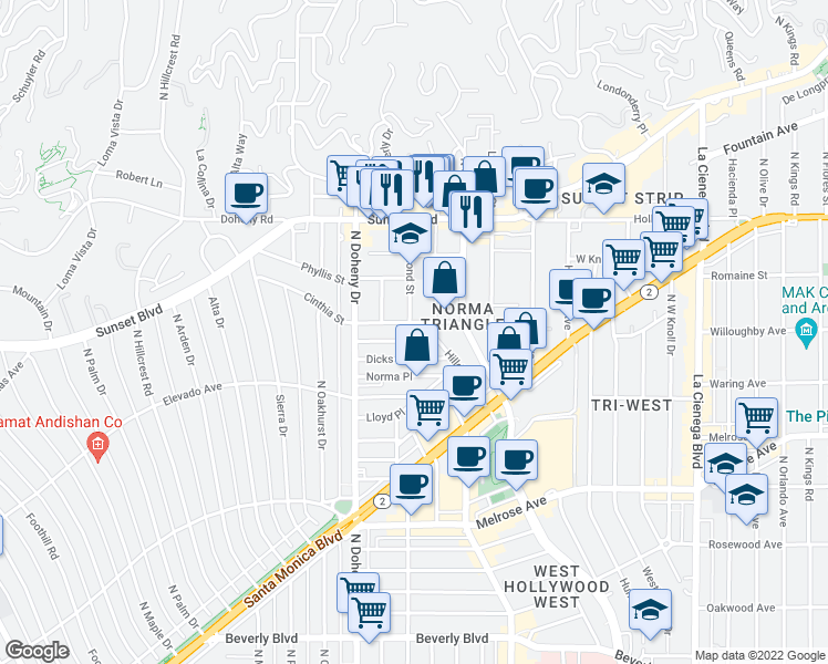 map of restaurants, bars, coffee shops, grocery stores, and more near 874 Hammond Street in West Hollywood