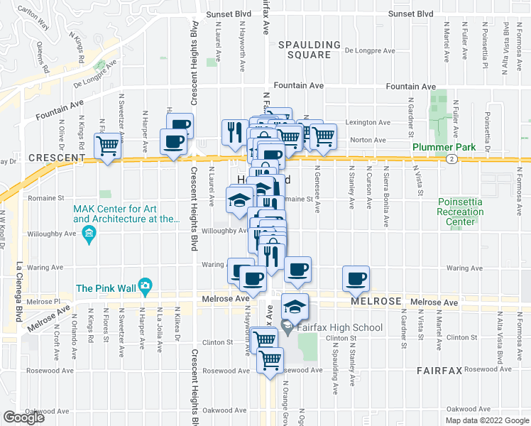 map of restaurants, bars, coffee shops, grocery stores, and more near 905 N Fairfax Ave in West Hollywood