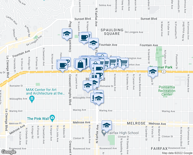 map of restaurants, bars, coffee shops, grocery stores, and more near in West Hollywood