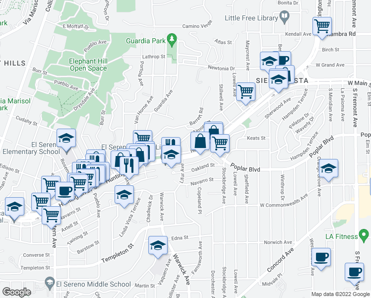 map of restaurants, bars, coffee shops, grocery stores, and more near 5243 Huntington Drive North in Los Angeles