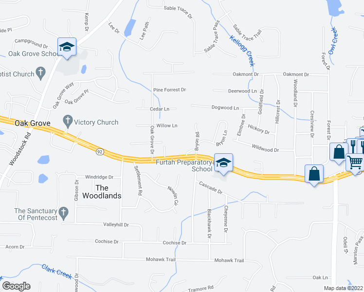 map of restaurants, bars, coffee shops, grocery stores, and more near 171 Bryon Road in Acworth
