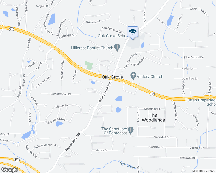 map of restaurants, bars, coffee shops, grocery stores, and more near 5731 Woodstock Road in Acworth