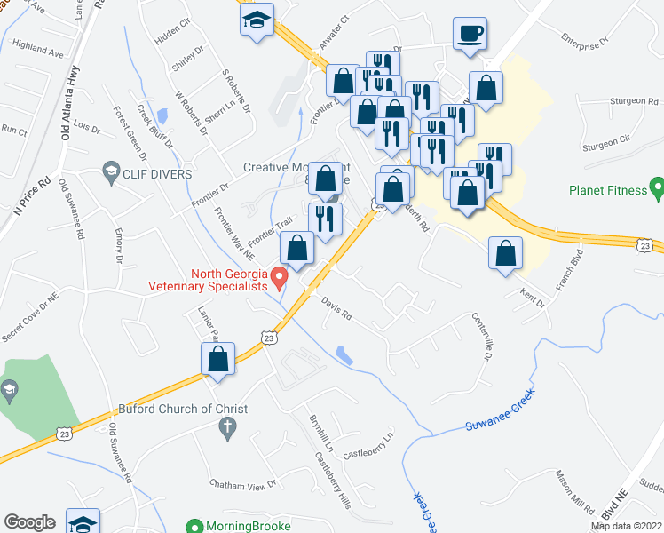 map of restaurants, bars, coffee shops, grocery stores, and more near 1350 Buford Highway Northeast in Buford
