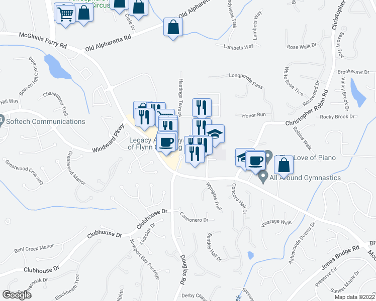 map of restaurants, bars, coffee shops, grocery stores, and more near 5350 McGinnis Ferry Road in Alpharetta