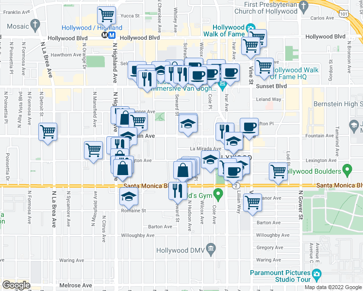 map of restaurants, bars, coffee shops, grocery stores, and more near 6555 La Mirada Avenue in Los Angeles