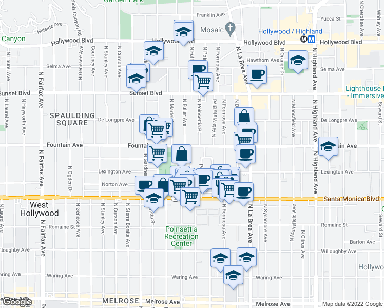 map of restaurants, bars, coffee shops, grocery stores, and more near 1240 Greenacre Avenue in West Hollywood