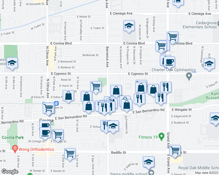 map of restaurants, bars, coffee shops, grocery stores, and more near 502 East Hurst Street in Covina