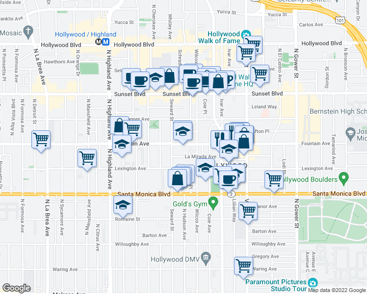 map of restaurants, bars, coffee shops, grocery stores, and more near 6518 La Mirada Avenue in Los Angeles