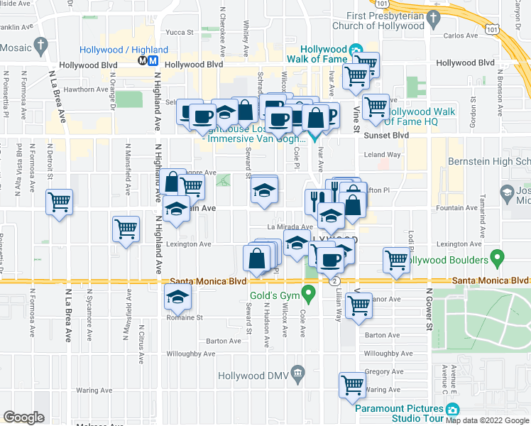 map of restaurants, bars, coffee shops, grocery stores, and more near 6525 La Mirada Ave in Los Angeles