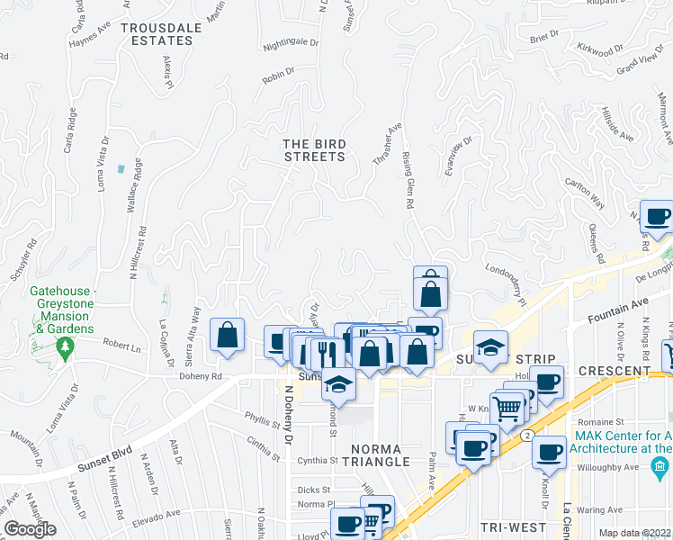 map of restaurants, bars, coffee shops, grocery stores, and more near 1429 Devlin Drive in Los Angeles
