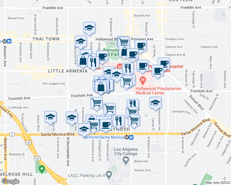 map of restaurants, bars, coffee shops, grocery stores, and more near 4833 Fountain Avenue in Los Angeles