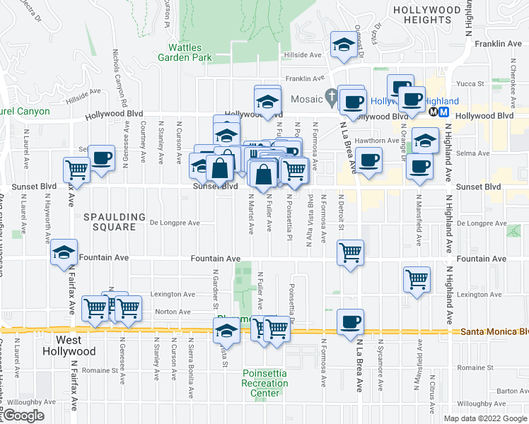 map of restaurants, bars, coffee shops, grocery stores, and more near 1427 North Fuller Avenue in Los Angeles