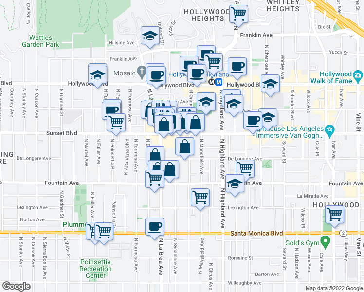 map of restaurants, bars, coffee shops, grocery stores, and more near 1407-1411 North Sycamore Avenue in Los Angeles