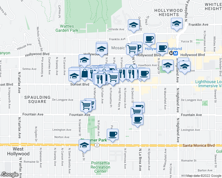 map of restaurants, bars, coffee shops, grocery stores, and more near 7256 Sunset Blvd in Los Angeles