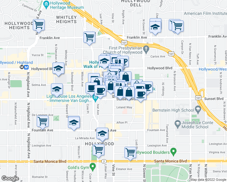 map of restaurants, bars, coffee shops, grocery stores, and more near 6287-6299 Selma Avenue in Los Angeles