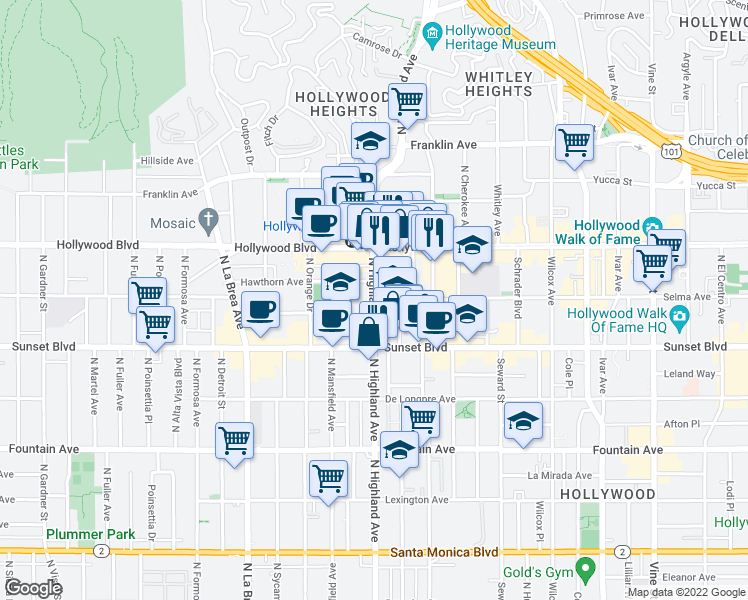 map of restaurants, bars, coffee shops, grocery stores, and more near Selma Avenue in Los Angeles