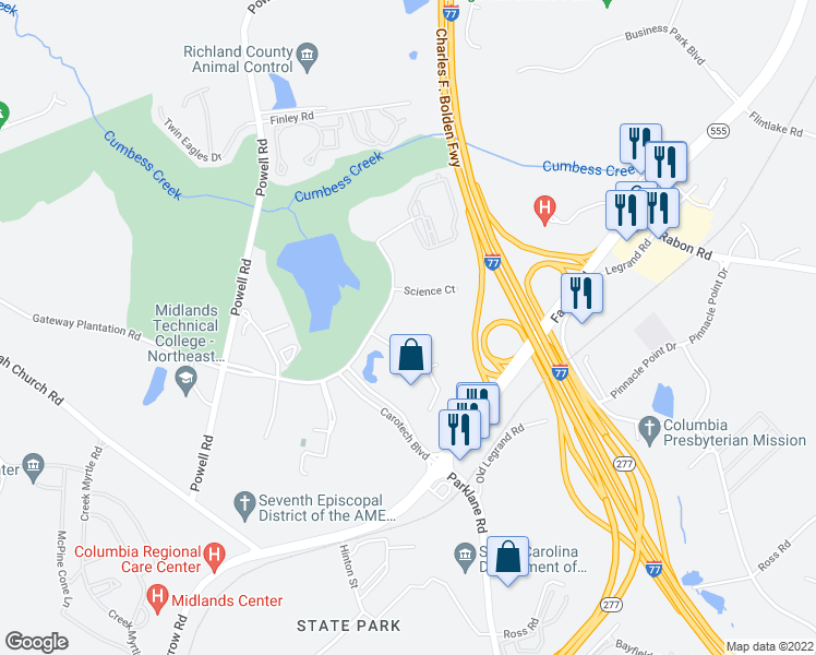 map of restaurants, bars, coffee shops, grocery stores, and more near 7 Technology Circle in Columbia