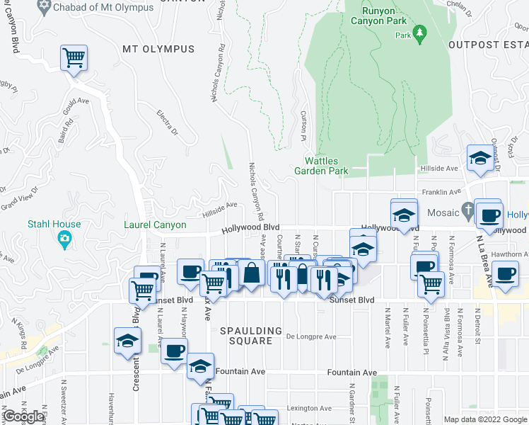 map of restaurants, bars, coffee shops, grocery stores, and more near 1722 Nichols Canyon Road in Los Angeles