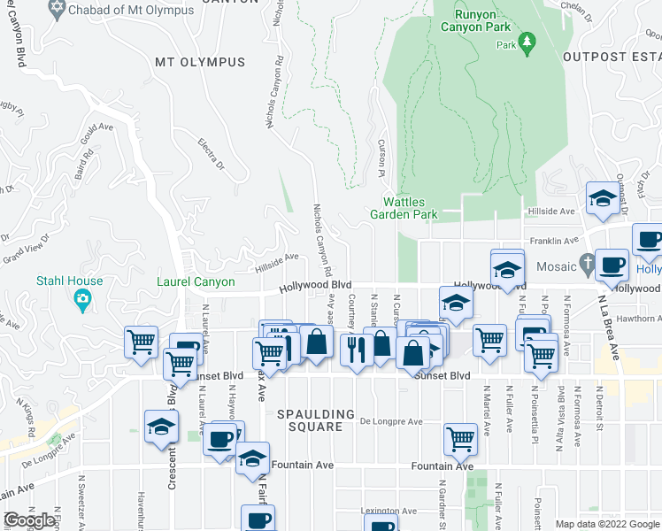 map of restaurants, bars, coffee shops, grocery stores, and more near 1724 Nichols Canyon Road in Los Angeles