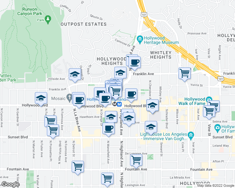 map of restaurants, bars, coffee shops, grocery stores, and more near Johnny Grant Way in Los Angeles