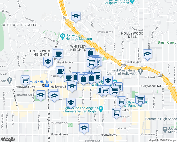 map of restaurants, bars, coffee shops, grocery stores, and more near 1800 Grace Avenue in Los Angeles