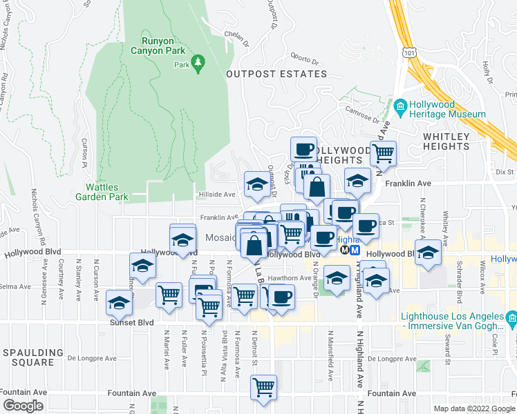 map of restaurants, bars, coffee shops, grocery stores, and more near 7101-7199 Franklin Ave in Los Angeles