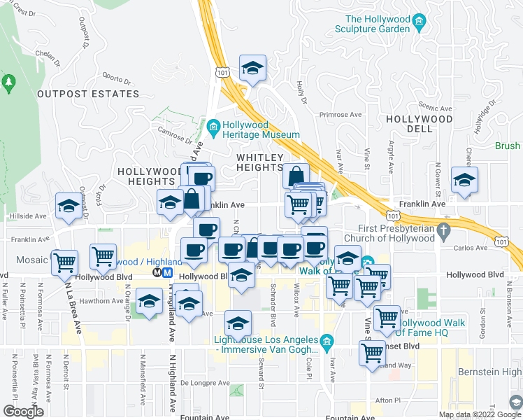 map of restaurants, bars, coffee shops, grocery stores, and more near 1850 Whitley Avenue in Hollywood