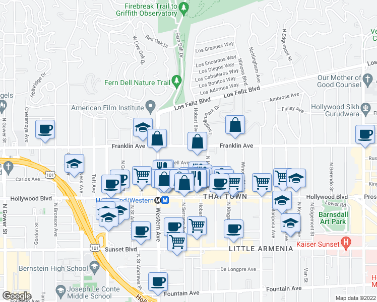 map of restaurants, bars, coffee shops, grocery stores, and more near 5346 Franklin Ave in Los Angeles