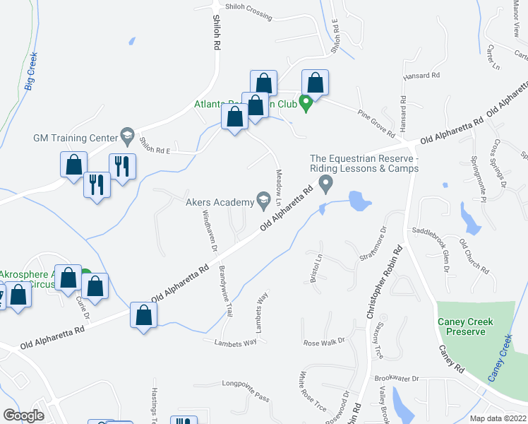 map of restaurants, bars, coffee shops, grocery stores, and more near 825 Old Alpharetta Road in Alpharetta