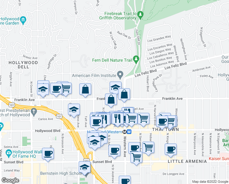 map of restaurants, bars, coffee shops, grocery stores, and more near 5573-5599 Franklin Ave in Los Angeles