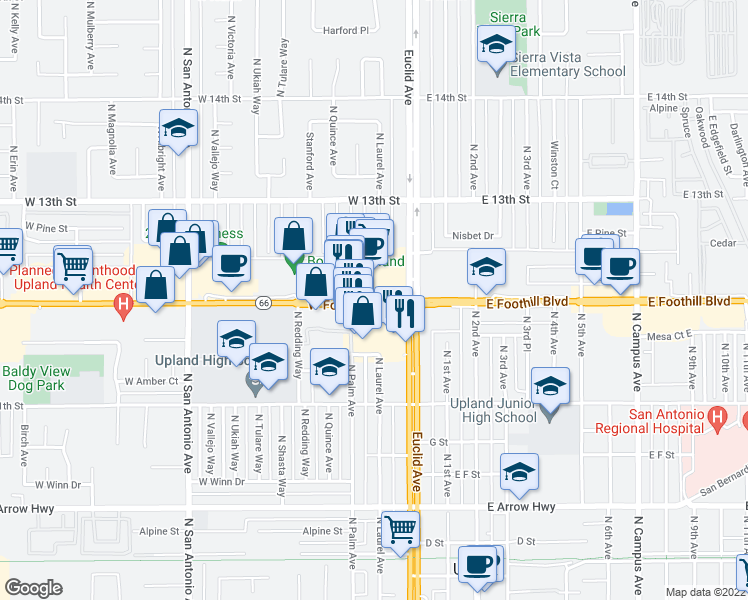map of restaurants, bars, coffee shops, grocery stores, and more near 117 U.S. 66th in Upland