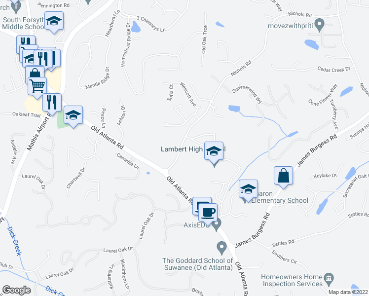 map of restaurants, bars, coffee shops, grocery stores, and more near 805 Nichols Rd in Suwanee