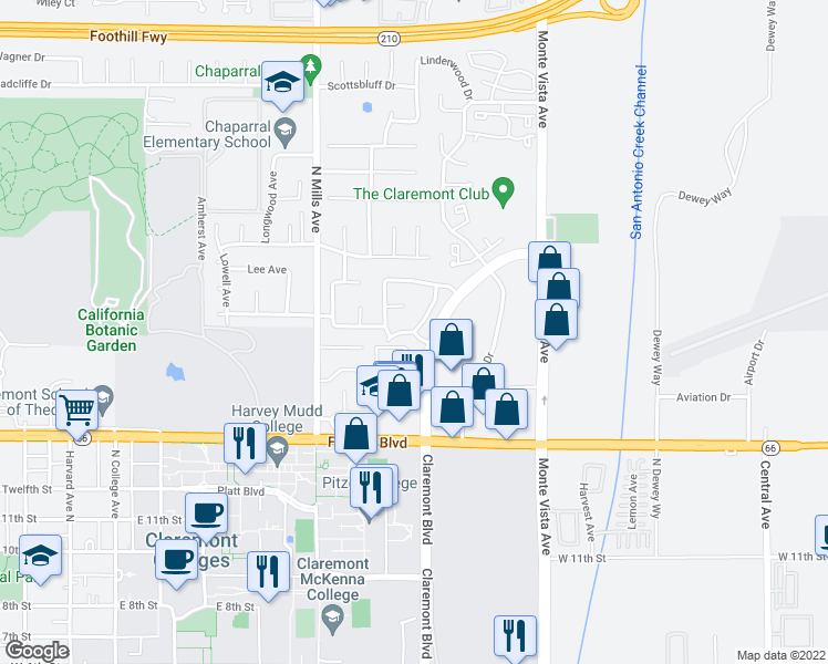 map of restaurants, bars, coffee shops, grocery stores, and more near Marjorie Ave & Earlham Dr in Claremont