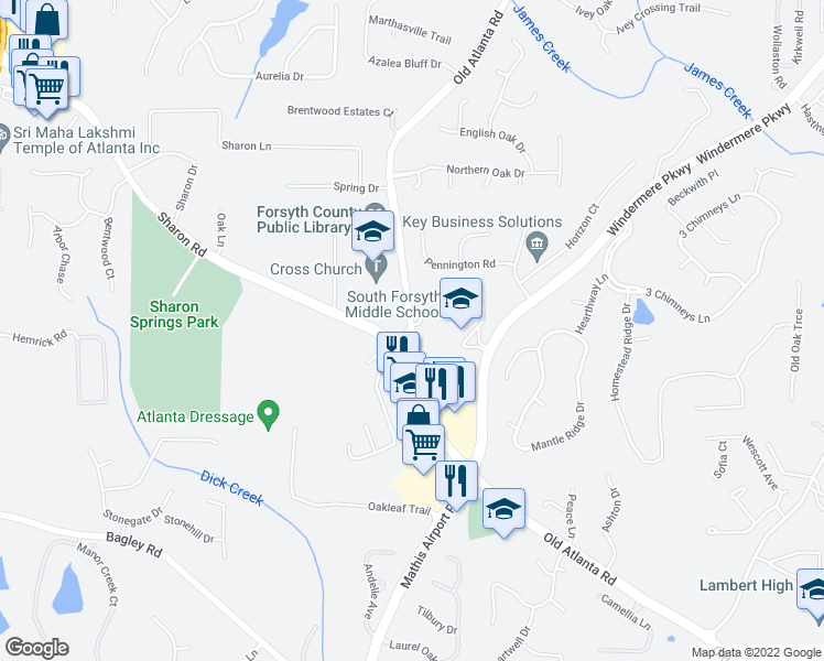 map of restaurants, bars, coffee shops, grocery stores, and more near 2933-2945 Old Atlanta Road in Cumming