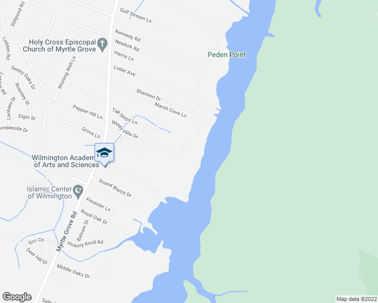 map of restaurants, bars, coffee shops, grocery stores, and more near 248 Windy Hills Drive in Wilmington