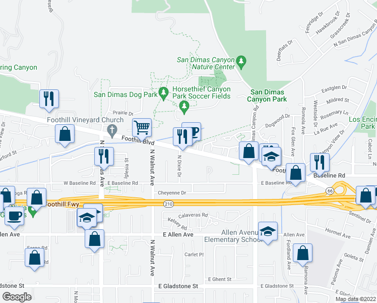 map of restaurants, bars, coffee shops, grocery stores, and more near 444 U.S. 66th in San Dimas