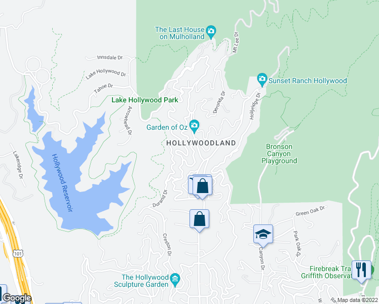 map of restaurants, bars, coffee shops, grocery stores, and more near 6434 Rodgerton Dr in Los Angeles